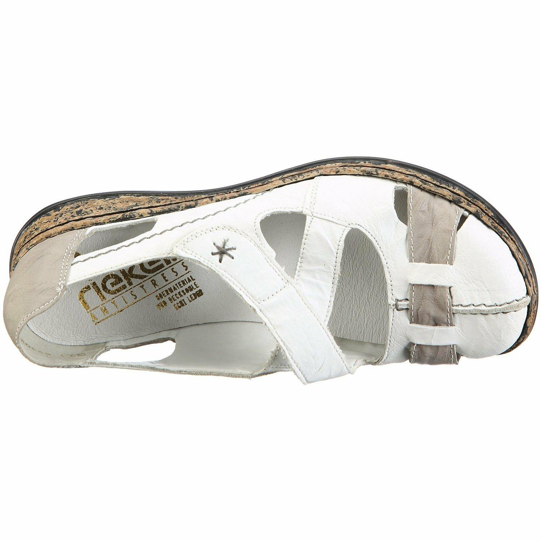90b2885a1439 Biele kožené sandále Rieker