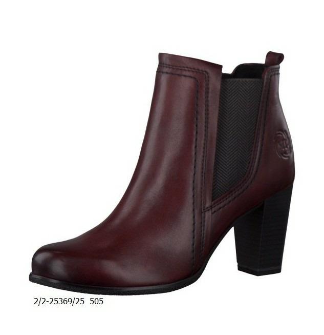 d411c2d4b1 Bordové kožené členkové topánky Marco Tozzi